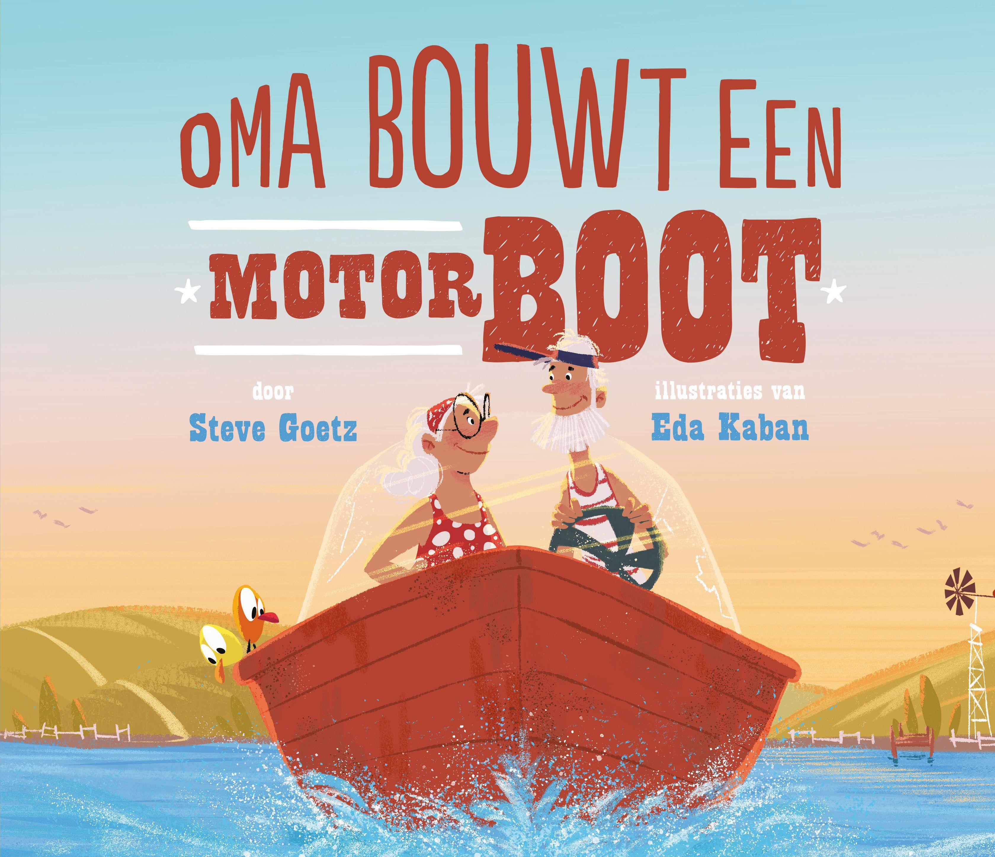 cover van het boek 'Oma bouwt een motorboot', prentenboek gebaseerd op het liedje 'Old MacDonald'