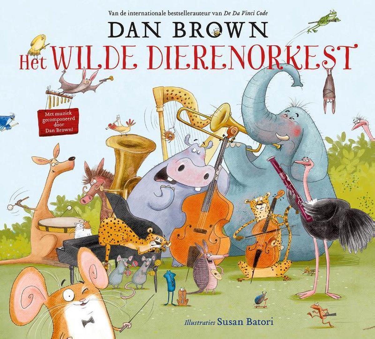 cover van het prentenboek 'Het wilde dierenorkest', nieuw prentenboek van Dan Brown