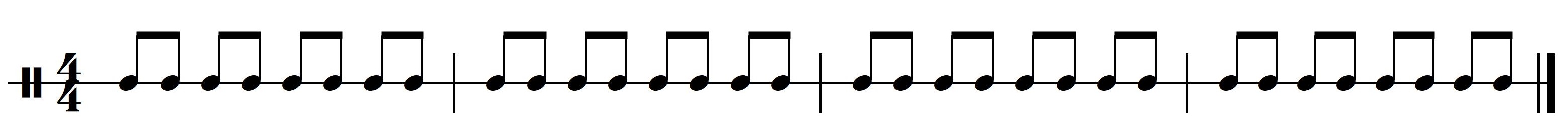 Ritme 1a. Basisritme 1 uit meespeelpartituur Dance Monkey