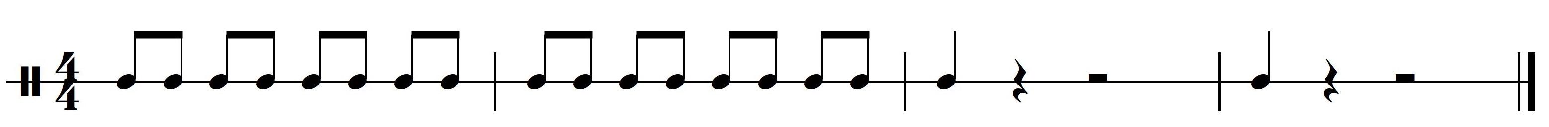 Ritme 1b. Basisritme 1 uit meespeelpartituur Dance Monkey