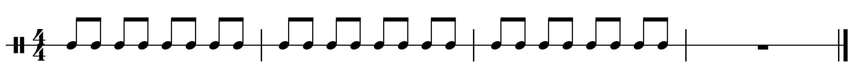 Ritme 1c. Basisritme 1 uit meespeelpartituur Dance Monkey