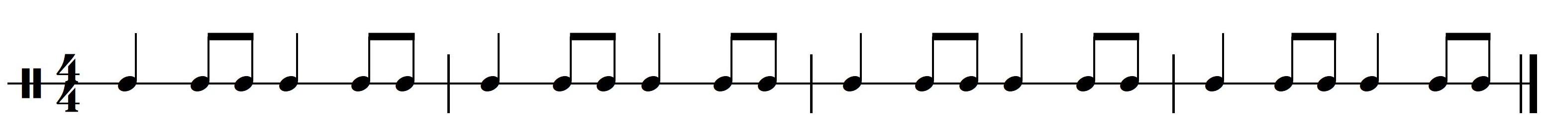Ritme 2a. Basisritme 2 uit meespeelpartituur Dance Monkey