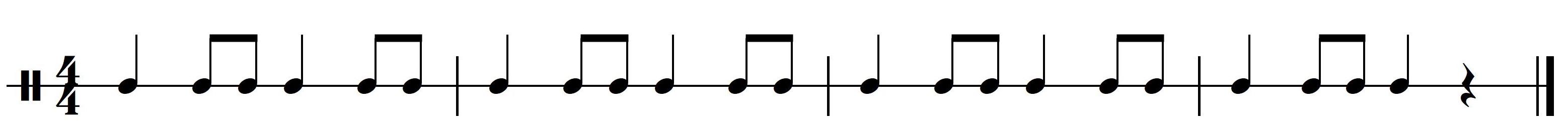 Ritme 2b. Basisritme 2 uit meespeelpartituur Dance Monkey