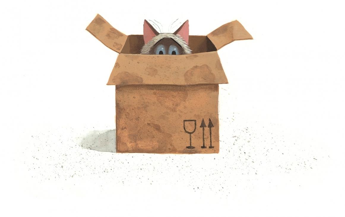 Harry vindt ook een klein huis - illustratie uit het prentenboek Een huis voor Harry, door Leo Timmers