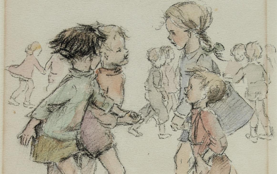 Door Annie Langelaar getekende uitbeelding van het lied 'Schip moet zeilen' (fragment). Bron: Archief Annie Langelaar