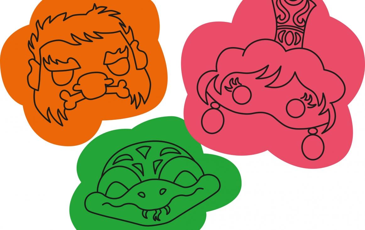 Illustratie van maskers horend bij de onderbouwles 'Wie ben ik?' van Johan Postma. Illustraties Winneke Hazewinkel