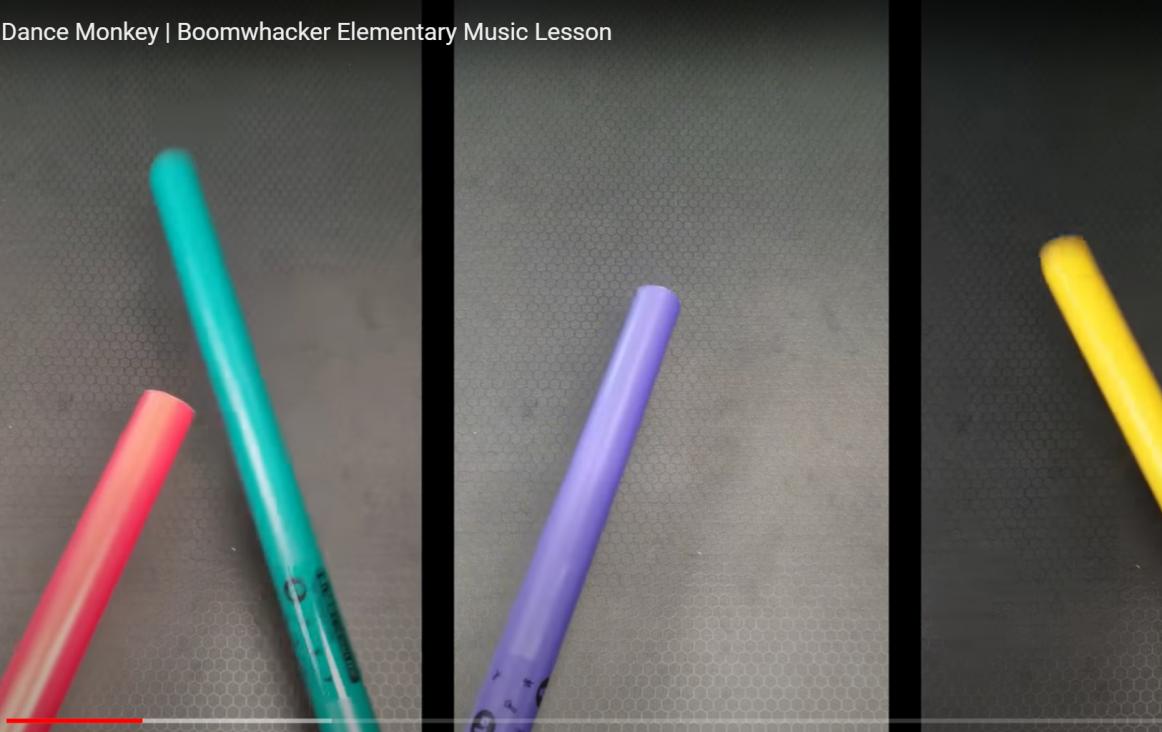 afbeelding (fragment) uit de video 'Dance Monkey | Boomwhacker Elementary Music Lesson'