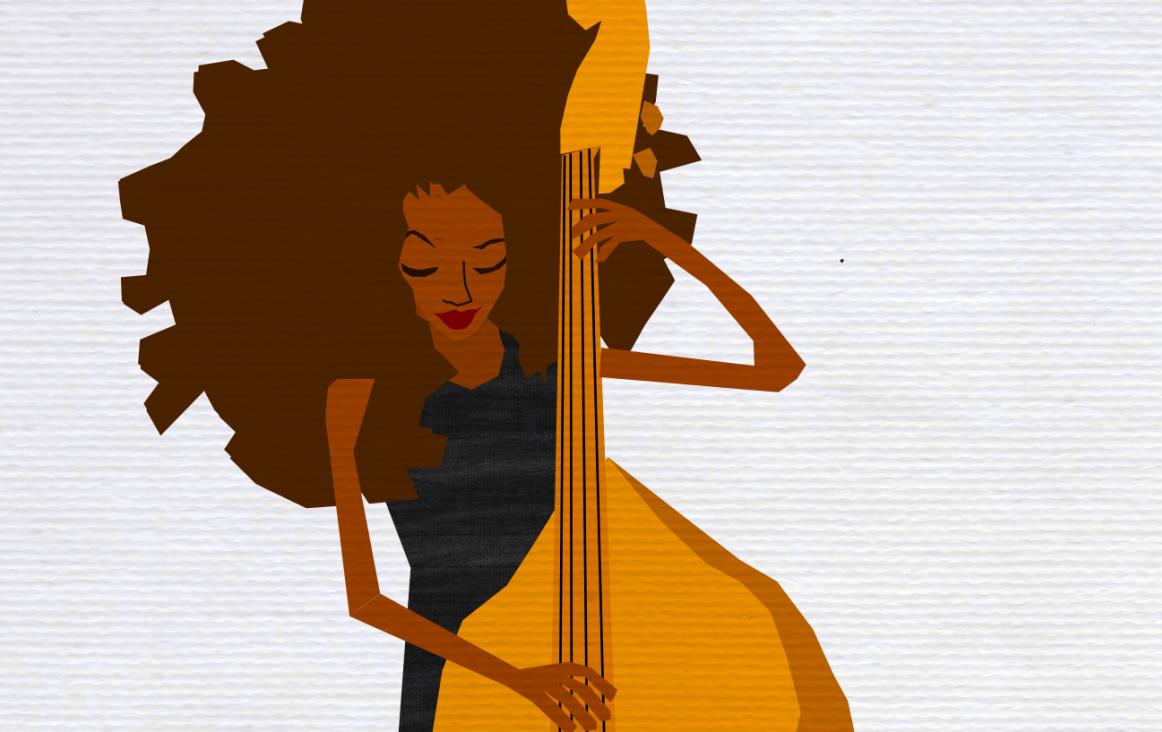 Illustratie 'Esperanza Spalding op contrabas' (fragment). Bron: Black House Blues, Musication
