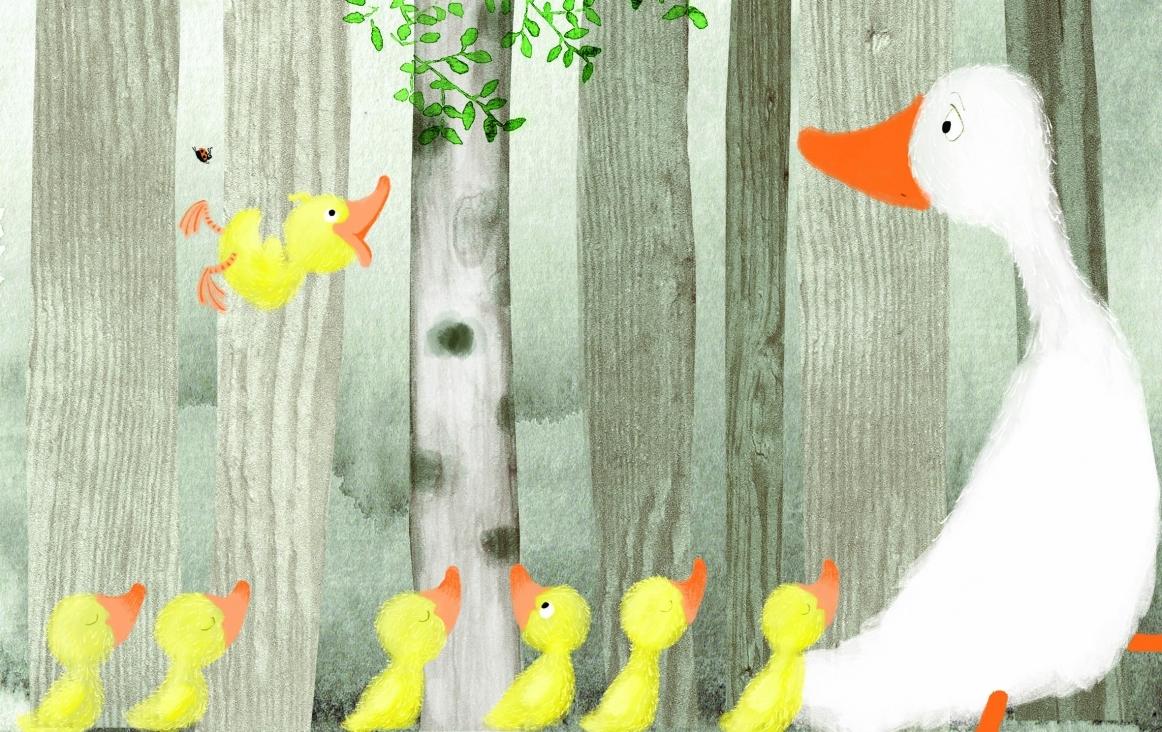 Ella, illustratie (fragment) van Miriam Berenschot uit het boek 'Ella, het swingende eendje', geschreven door Suzan Overmeer