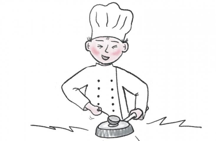 Kok slaat op pan - illustratie Hilde Kokshoorn
