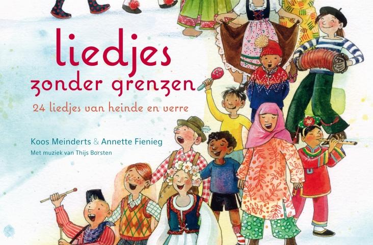 Cover (fragment) van het boek 'Liedjes zonder grenzen', Koos Meinderts, Annette Fienig en Thijs Borsten