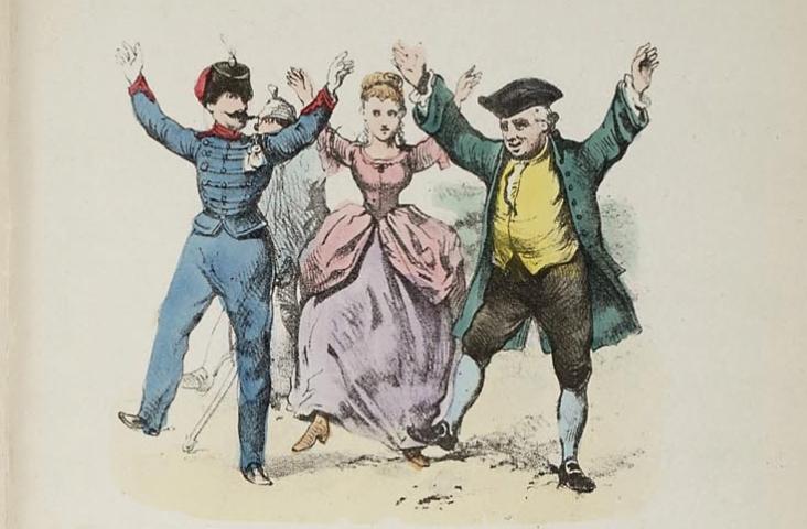 illustratie (fragment) uit 'Knie-en-bakerdeuntjes uit de oude doos' (bron: Wikipedia)