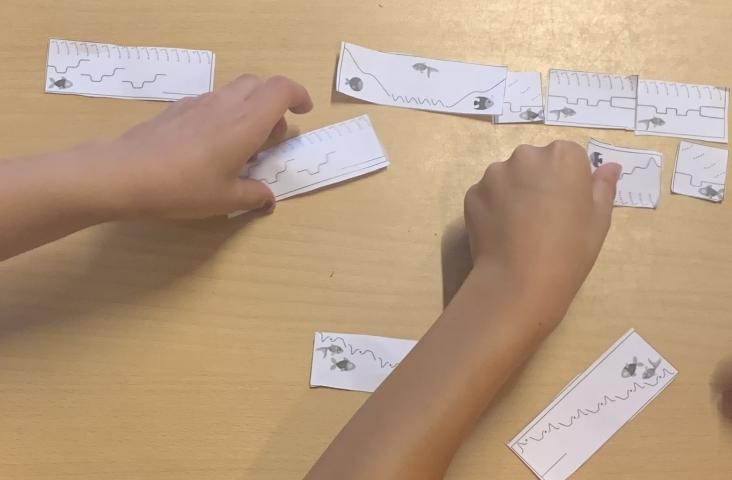Puzzelen met de notatiekaartjes bij het beluisteren van 'Aquarium'