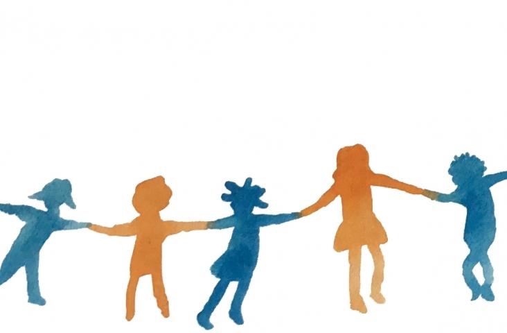 Dansende kinderen, tekening (fragment) bij het artikel 'Canon van het Nederlandse Kinderlied'. Illustratie van Winneke Hazewinkel