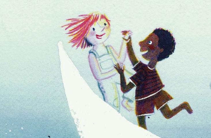 coverfragment van 'Zing zing zing de wereld rond'. Boek van Marieke van Ditshuizen en Jef Aerts