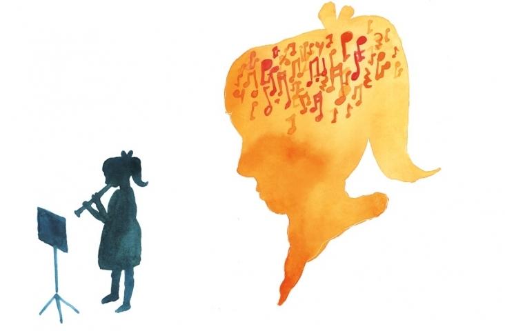 Dyslexie en muziek. Illustratie Winneke Hazewinkel
