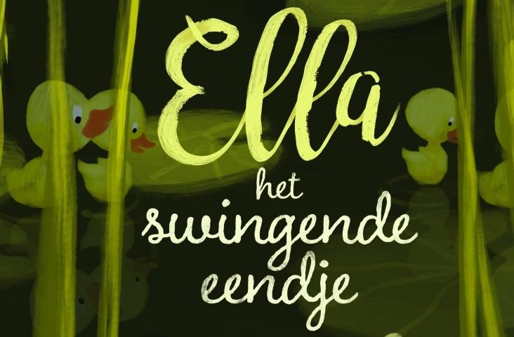 cover (fragment) van 'Ella, het swingende eendje'. Illustratie Miriam Berenschot, tekst Suzan Overmeer