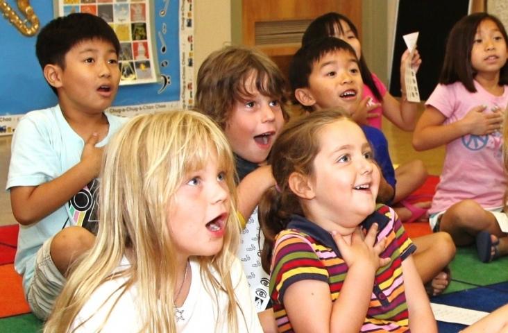 Zingen tijdens Engels/muziekles