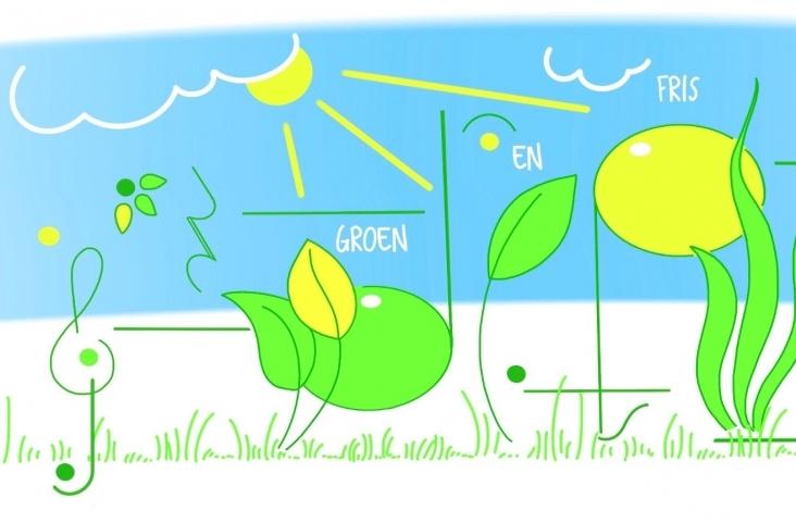 'Groen en fris', logo van de gelijknamige rubriek in de Liedbijlage. © Hilde Kokshoorn 2019