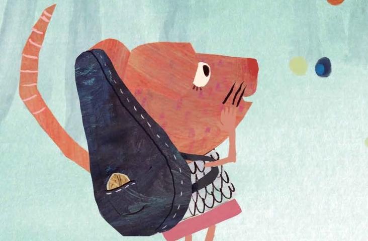 illustratie uit 'Muizenmuziek', prentenboek van Suzan Overmeer met illustraties van Myriam Berenschot