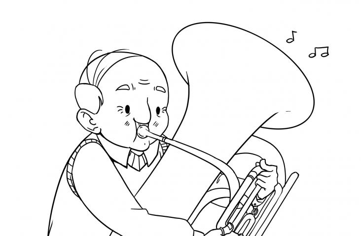 Opa met tuba Illustratie: Iris Groot