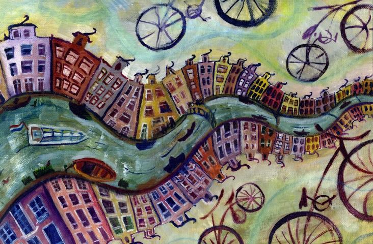 Olieverfschilderij van Amsterdam (fragment) met roeiboot, fietsen en grachtenhuizen