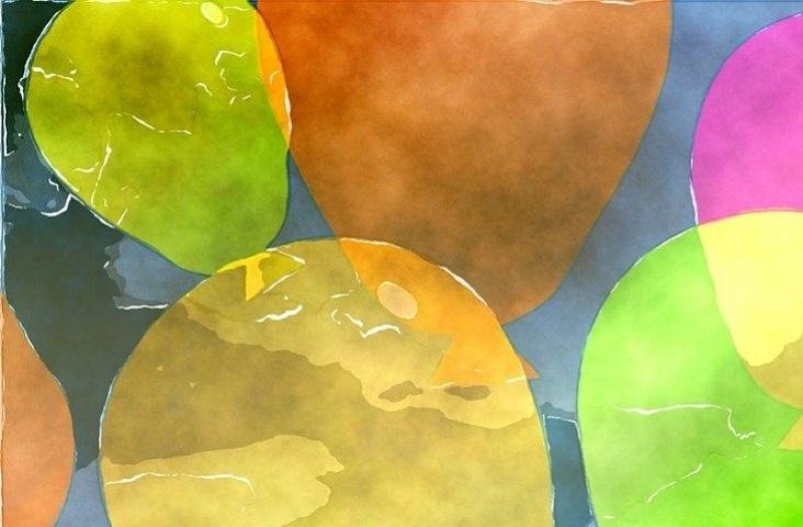 Ballonnen in waterverf. Bron Shutterstock
